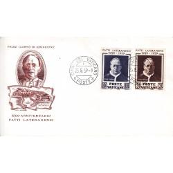 FDC Vaticano Filagrano 1959 Unif. 260/61 Patti Lateranensi 1