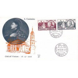 FDC Vaticano Ala 1959 Unif. 267/68 San Casimiro