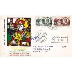 FDC Vaticano Rodia 1959 Unif. 267/8 San Casimiro Raccomandata