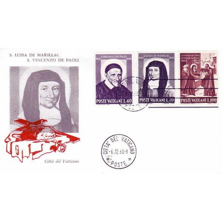FDC Vaticano Ala 1960 Unif. 295/97 S.Vincenzo de Paola e S.L. De Marillac
