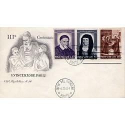 FDC Vaticano Capitolium 1960 Unif. 295/97 S.Vincenzo de Paola e S.L. De Marillac