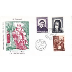 FDC Vaticano 1960 Unif. 295/97 S.Vincenzo de Paola e S.L. De Marillac v02