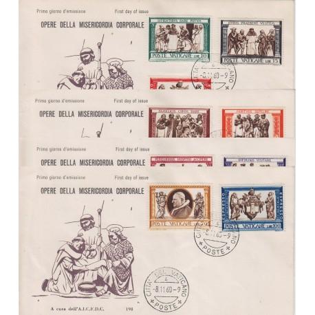 FDC Vaticano AICFDC 1960 Unif. 284/91 + esp Opera Di Misericordia Corporali