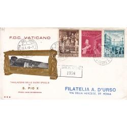 FDC Vaticano Tre Stelle 1960 Unif. 281/83 Traslazione salma di S.S. Pio X raccomandata