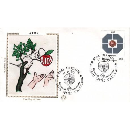 FDC Italia Filagrano Gold 1989 Unif. 1873 AIDS - A/S