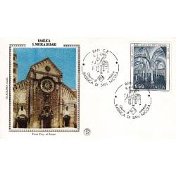 FDC Italia Filagrano Gold 1989 Unif. 1877 Basilica S. Nicola Bari A/S
