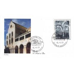 FDC Italia Roma 1989 Unif. 1877 Basilica S. Nicola Bari A/S