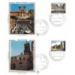 FDC ITALIA 1989 Filagrano Gold Unif. 1879/80 Piazze D'Italia A/F Bolzano