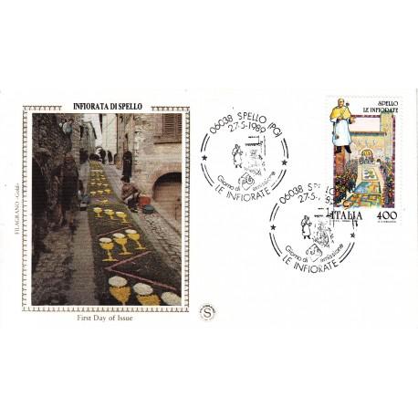 FDC ITALIA 1989 Filagrano Gold Unif. 1884 Folclore Infiorata di Spello A/S