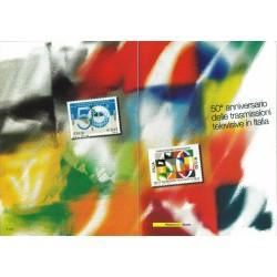 IT Repubblica 2004 Folder 03/01/2004 50° anniversario della trasmissione televisiva in Italia - nuovo cpl. val. facciale € 11.00