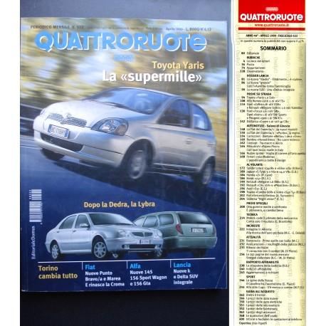 Quattroruote 522 04/1999 Toyota Yaris mille. Rinasce la Croma. Alfa 145 e 156