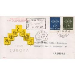 FDC ITALIA 1959 RODIA - 877 Europa CEPT a/o Roma in raccomandata