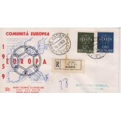 FDC ITALIA 1959 Chimera - 877 Europa CEPT a/o Roma in raccomandata