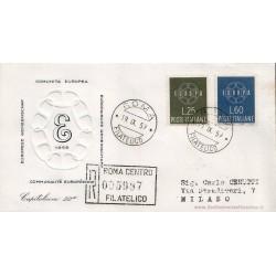 FDC ITALIA 1959 Capitolium - 877 Europa CEPT a/o Roma in raccomandata