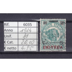 Italia Colonie - Eritrea 1924 Francobolli di Somalia sovrast. 5c usato