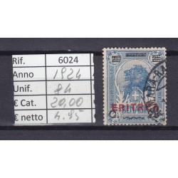 Italia Colonie - Eritrea 1924 Francobolli di Somalia sovrast. 25c usato