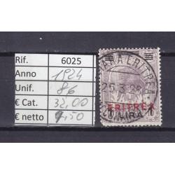 Italia Colonie - Eritrea 1924 Francobolli di Somalia sovrast. 1L usato