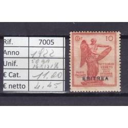 Italia Colonie - Eritrea 1922 Vittoria sovrastampati 10c 14x13 1/4 MNH**