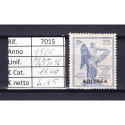 Italia Colonie - Eritrea 1922 Vittoria sovrastampati 25c 14x13 1/4 MNH**