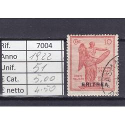 Italia Colonie - Eritrea 1922 Vittoria sovrastampati 10c usato