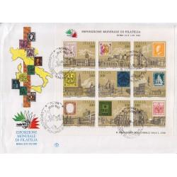 FDC ITALIA 1985 Filagrano BF2 Esposizione Mondiale Antichi Stati