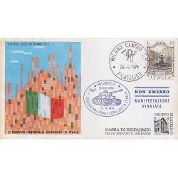 FDC ITALIA Marcofilia - annullo speciale 25/09/1976 1° Raduno Naz. Corazzati d'Italia Milano