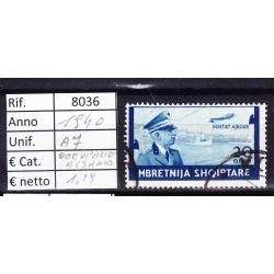 ITALIA Regno 1940 ALBANIA POSTA AEREA Q. 20 USATO