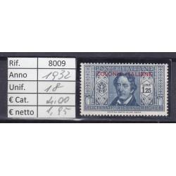 Italia Colonie - Emissioni Generali 1932 Dante Alighieri 1.25C MNH**