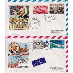 FDC ITALIA 1969 ROMA viaggio Presidente Saragat a Londra 2 buste