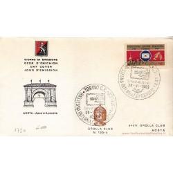FDC ITALIA 1969 Grolla Club 135/c Unif.1114 Rassegna Int. Umorismo a/speciale