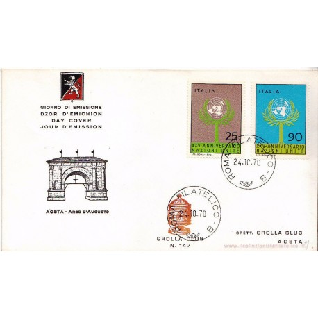 FDC ITALIA 1969 Grolla 147 Unif.1132/3 25° anniv. dell' ONU apg