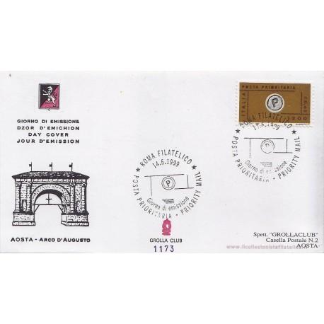 FDC ITALIA 1999 Grolla 1173 unif. 2455A Posta Prioritaria a/s apg