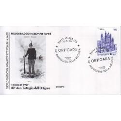 FDC annullo speciale 13/07/1997 Asiago Ortigara 80° Anniversario della battaglia
