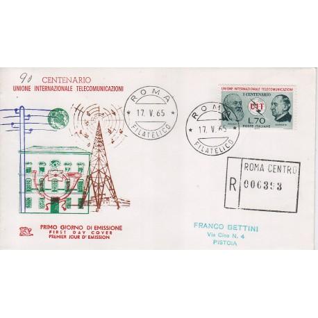 FDC ITALIA 1965 Chimera - unif. 996 UIT Centenario inter. telecomunicazione raccomandata