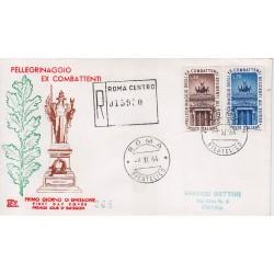 FDC ITALIA 1964 Chimera Unif. 986 pellegrinaggio a roma ex combattenti raccomandata