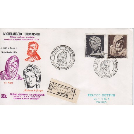 FDC ITALIA 1964 Chimera Unif. 975 A156 Michelangelo raccomandata