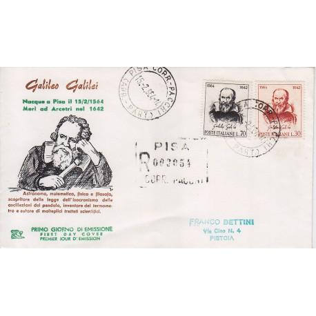 FDC ITALIA 1964 Chimera Unif. 975/6 Galileo Galilei raccomandata