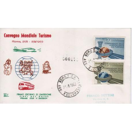 FDC ITALIA 1963 Chimera Unif. 965 Conferenza Nazioni Unite sul Turismo raccomandata