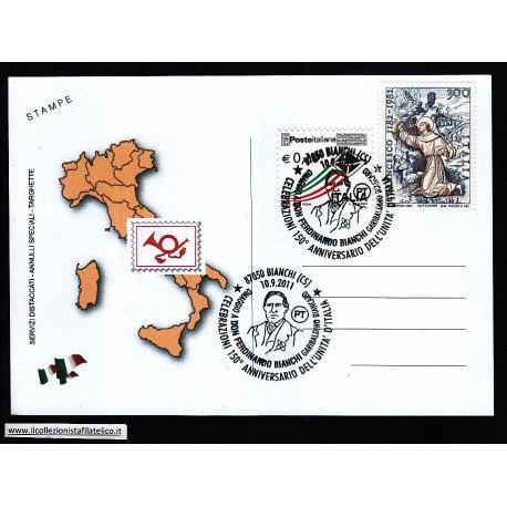 FDC ITALIA Marcofilia Annullo speciale n 1451 10/09/2011 87050 BIANCHI