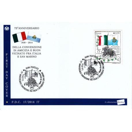 FDC ITALIA 17/2014 Convenzione  Italia - San Marino A/S Roma