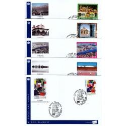 IT Repubblica 25-a-b-c-d-e/2014 FDC - 19/07/2014 - Propaganda turistica 5 buste annulli speciali delle varie città