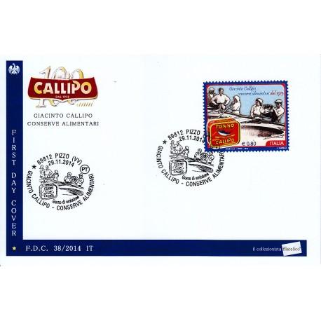 FDC - ITALIA Rep. NPE 38/2014 - 29/11/2014 3593 - Giacinto Callipo , tonno e conserve alimentari dal 1913 annullo speciale