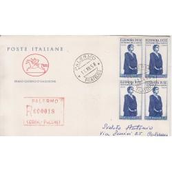 FDC ITALIA 1958 POSTE ITALIANE - 848 - Centenario della nascita di Eleonora Duse a/PA quartina racc