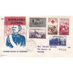 FDC ITALIA 1959 OLIMPIA - 866 Centenario della II guerra d'Indipendenza a/PA raccomandata espresso