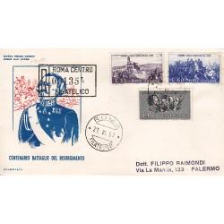 FDC ITALIA 1959 OLIMPIA - 866 Centenario della II guerra d'Indipendenza a/PA raccomandata 2 buste