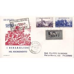 FDC ITALIA 1959 OLIMPIA 1 - 866 Centenario della II guerra d'Indipendenza a/PA raccomandata 2 buste